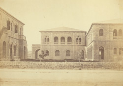 The offices of the Indo European Telegraph Department. From the Macleod Road, Kurrachee [Karachi]. Total cost £21,000. Designed by Captain P. Phelps, RE.